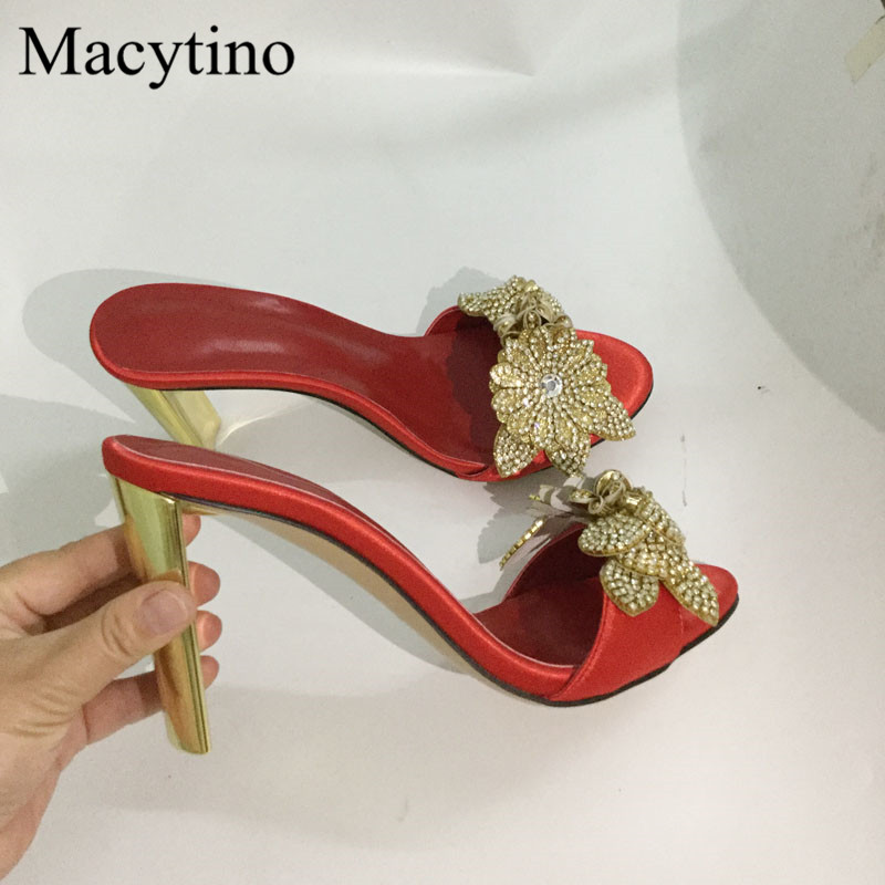 Summer Flower High Heels Beading leaf Decor Formal Party Shoes Women Slippers Designer Mules Red Slippers Shoes Women