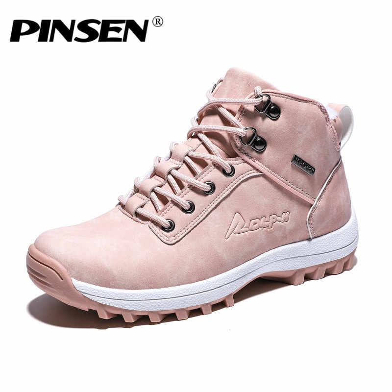 PINSEN yeni kış kadın çizmeler yüksek kaliteli sıcak kürk peluş ayakkabı kadın ayak bileği kar botları kadın dantel-up bayanlar ayakkabı botas mujer