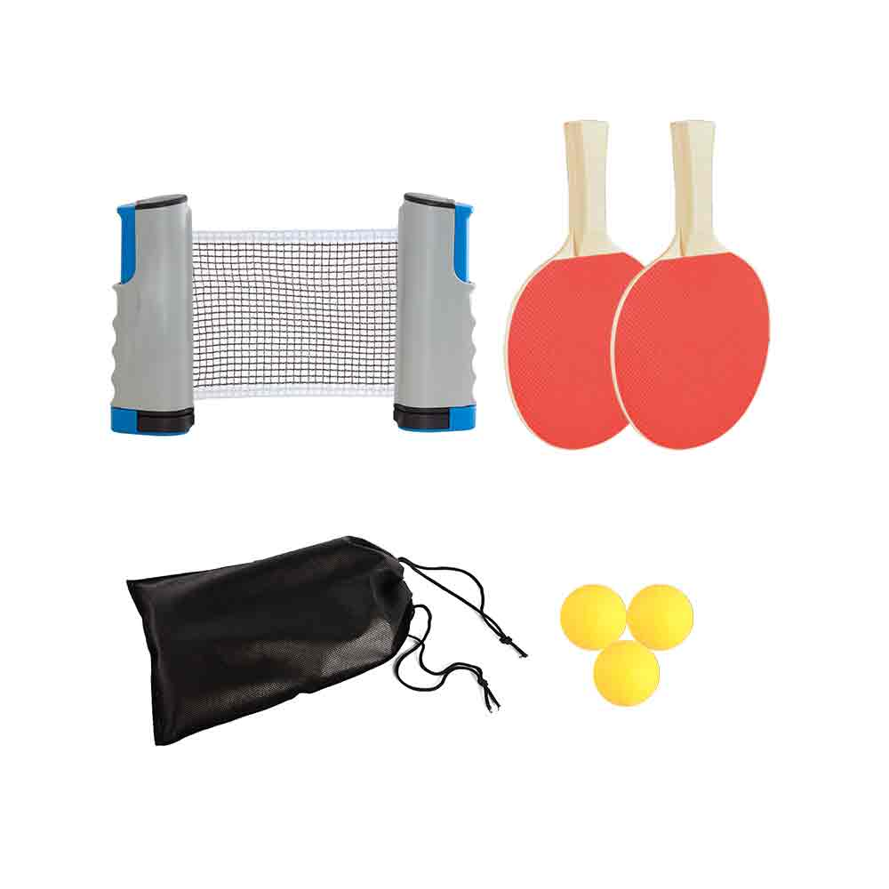 Instant Table Tennis Kit Ping Pong Set & Retractable Net 2 Bats Portable 3 Balls