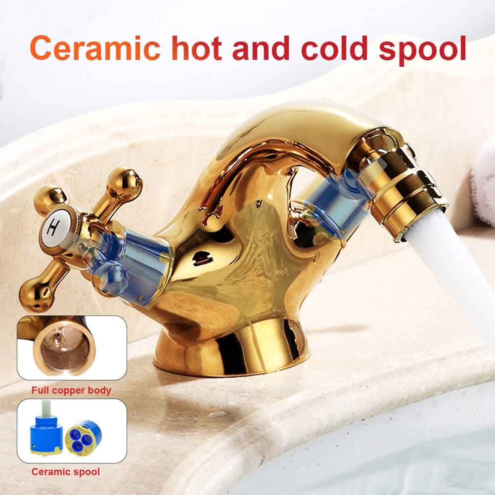 Bathroom Brass Gold Single Hole Hotel Dual Handle Home Hot Cold Tap European Style Durable Easy Install Anti Rust Bidet Faucets