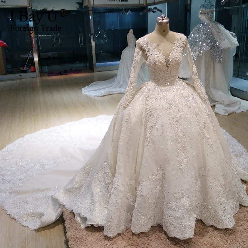 Luxury Stone Long Sleeve Wedding Dresses 2020 Sheer Neck Princess Bridal Gown Plus Size