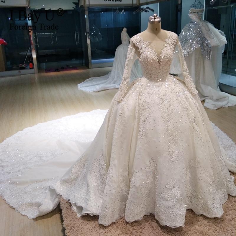 Luxury Stone Long Sleeve Wedding Dresses 2020 Sheer Neck Princess Bridal Gown Plus Size