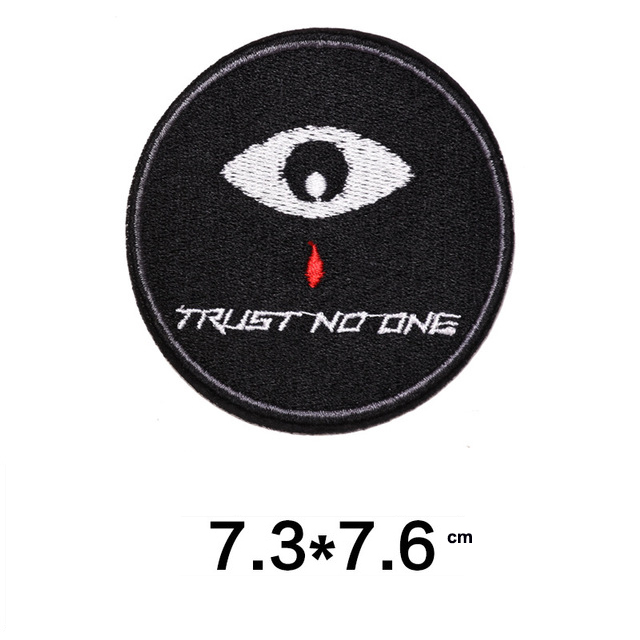 Music Embroidered Patches TRUST NO ONE DIY Patches For Clothes