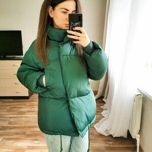 Image 5 - Зимние Модные женские парки, пуховики с хлопковой подкладкой, теплые, толстые, свободные, большие, однотонные, ватные куртки, женские повседневные куртки