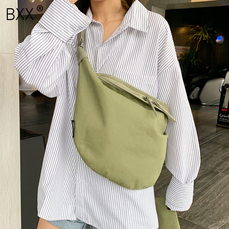 [BXX] Women's Single Shoulder Crossbody Bag All-match Large Capacity Package 2020 Brand Designer Casual Canvas Chest Bag HG770