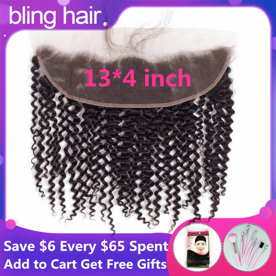 Bling Hair 13*4 Lace Frontal Closure Free Part Kinky Curly Human Hair Closure With Baby Hair Peruvian Remy Hair Natural Color
