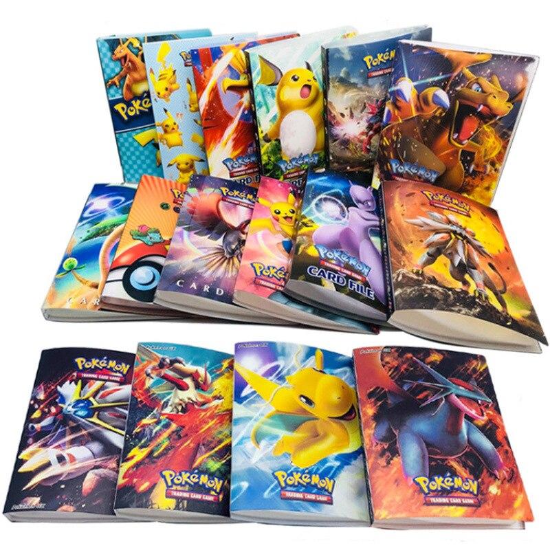 Novo 240 pçs personagens cartão coleção caderno cartão de jogo jogando álbum pokemones cartões titular novidade presente para crianças