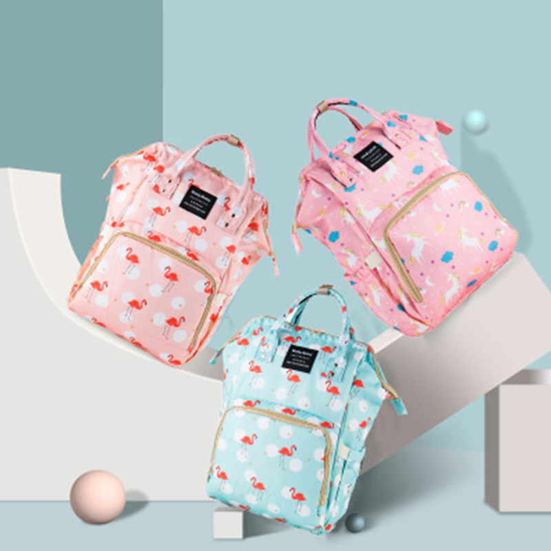 Flamingo Mammy Bag Storage Bags Commuting Backpack Maternity Large Hanging Unicorn Babies Bag Waterproof Travel Picnic Baby Care
