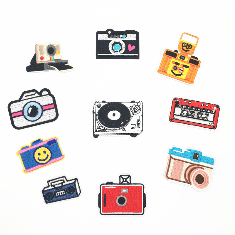 Camera Patches On Clothes Iron Patch Embroidery Badges Stripe Applique Cute Sewing diy Decorative Stickers for Clothing Apparel