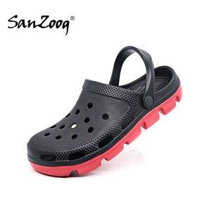 Image 1 - קיץ אופנה להחליק על גברים גומי חוף סנדלי Mens כפכפים נעלי גן Zuecos Hombre לסתום Cholas סנדל גבר בתוספת גדול גודל 49s