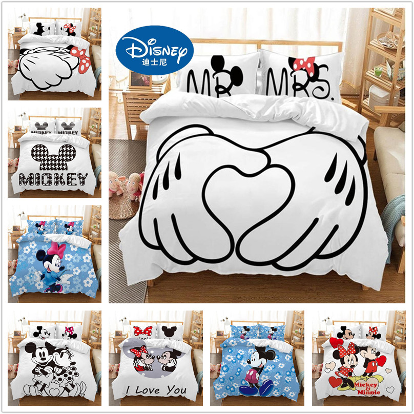 Disney Mickey Minnie Cartoon Bedding Set Lovely Couple Twin Full King Single Double Size Children Duvet Cover Bed Linen Boy Girl