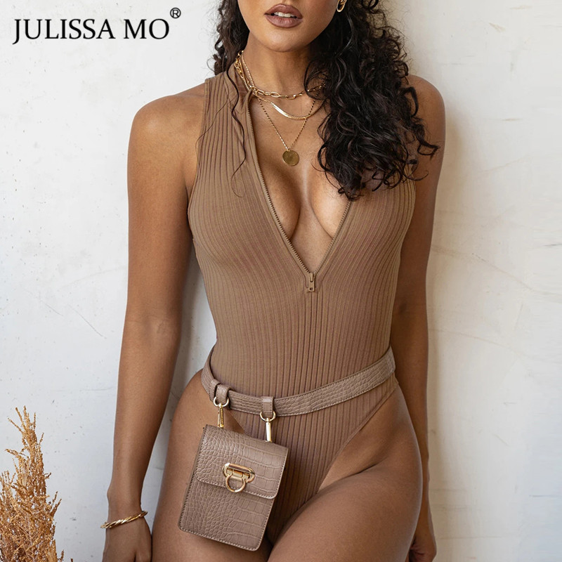 JULISSA MO Sleeveless Half Zip Up Ribbed Bodysuit Women Sexy High Neck Bodycon Short Rompers Jumpsuits Black Basic Stretch Tops
