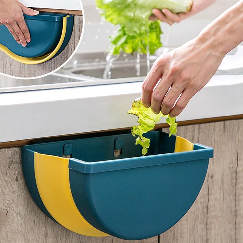 large foldable kitchen trash plastic storage box organizer for kitchen accessories storage basket kitchen storage box/rack Shelf 1