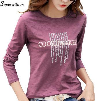 Bawełniana koszulka damska krótka koszulka z długim rękawem damska 2020 listowa koszule z nadrukiem Lady Fashion Plus rozmiar letnia koszulka G80 tanie i dobre opinie Soperwillton CN (pochodzenie) Wiosna jesień COTTON spandex Topy Tees Pełna REGULAR Suknem Tshirt No 70020454 WOMEN NONE