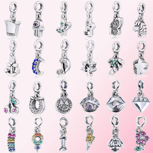 100% 925 Sterling Silver ME Series Pendant Smiley Anchor Bee Crown Meteor Unicorn Flower Moon Cherry Cactus Star butterfly Charm(China)