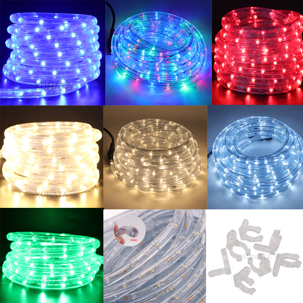 1 100M AC220V LED Strip Round 2 wire Neon Tape 36Leds m Flexible Outdoor Waterproof Led Light Strip With EU Power Plug in LED Strips from Lights Lighting