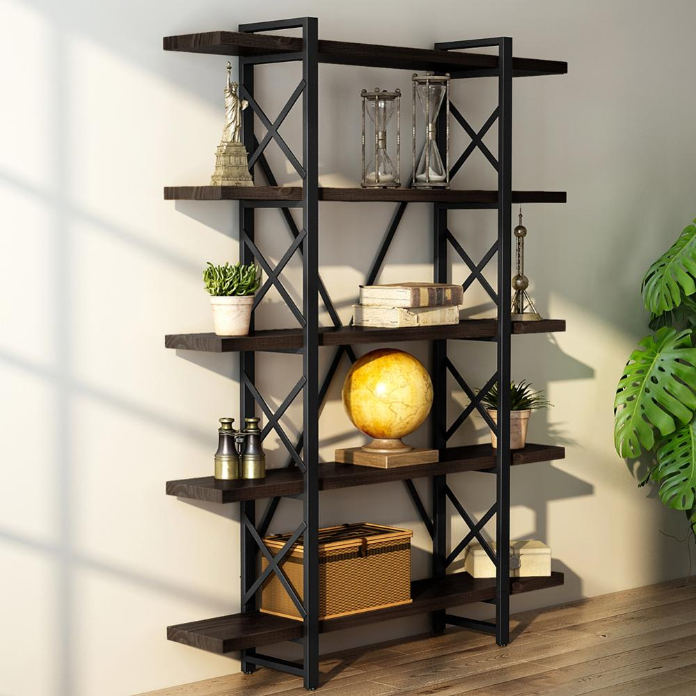 Vintage Free Standing Bookshelf 5-tier Industrial Style X shaped design Bookcase