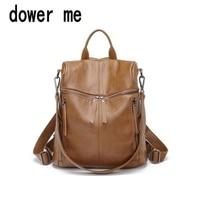 dower me 001 Trendy Female Drawstring PU Leather Backpacks Teenage Girls Small School Bags Women High Quality Casual Rucksack