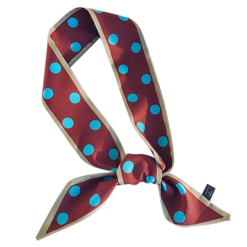 <font><b>90</b></font> * 5cm Artificial Silk Scarf Multi-purpose Women Fashion Polka Dot Scarves image