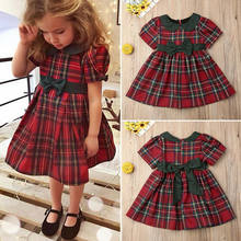 Pudcoco Toddler Kid Baby Girl Christmas Princess Cotton Red Plaid Dress Party Xmas Dress(China)