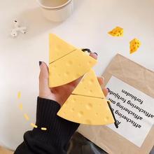 Airpod 케이스에 대 한 손가락 반지 스트랩과 함께 만화 치즈 애플 airpods 충전 상자 커버에 대 한 블루투스 무선 이어폰 케이스