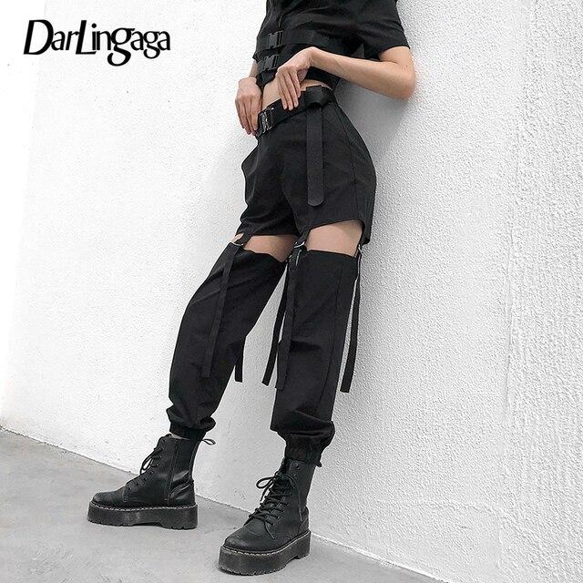 Darlingaga היפ הופ גבוהה מותניים מכנסיים מטען נשים רצים רחוב סגנון מכנסיים אבזם מסלול מכנסיים מתכוונן חלול החוצה Pantalon