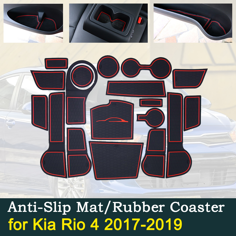 Anti-slip Car Door Rubber Cup Cushion Red Gate Slot Pad for Kia Rio 4 X-Line RIO 2017 2019 Interior Accessories 2017 2018 2019