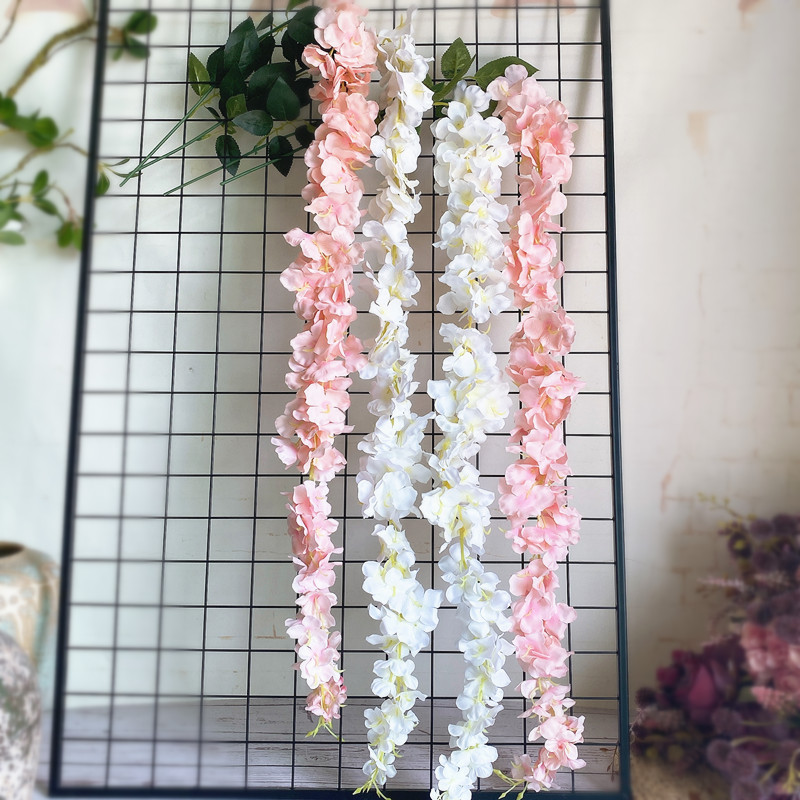 Wholesale White Wisteria Flower Rattan with leaves Silk Artificial flowers celing wall Hanging Flower Vine Wedding Decoration(China)