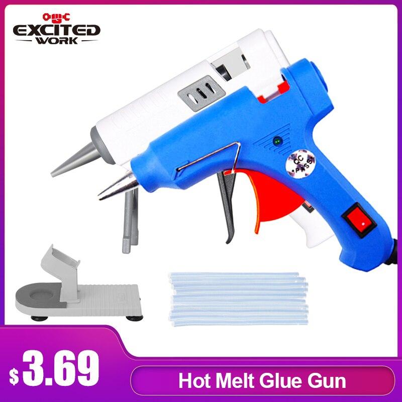 High Temp Heater Melt Hot Glue Gun 20W Repair Tool Heat Mini Gun EU Use 7mm Glue Sticks Optional Base By EXCITEDWORK hot glue gun glue gunhot melt glue gun - AliExpress