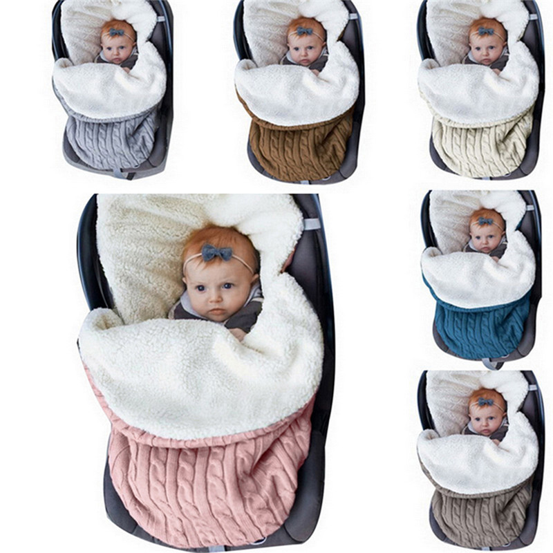 Oeak Knitted Sleep Sack Newborn Swaddle Knit Wool Slaapzak Baby Sleeping Bag Baby Thickening Plus Velvet Knit Warm Wool Stroller