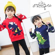 New Fashion Cartoon Baby Girls Fleece Sweater Cute Dinosaur Print Kids Casual Cotton Knitwear Toddler Knitted Clot