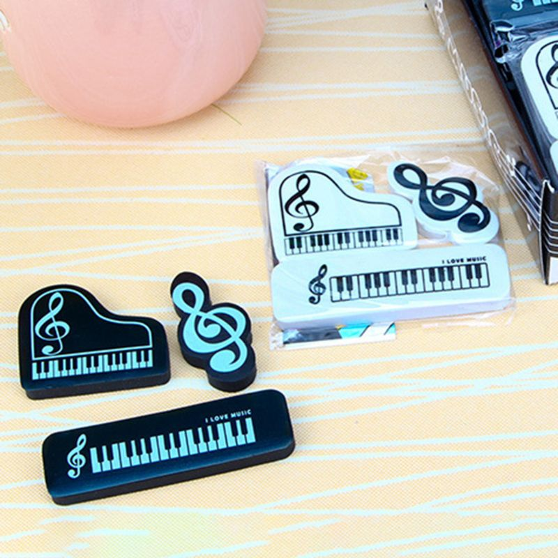 3pcs/set Musical Piano Notes Rubber Pencil Eraser School Student Korean Stationery Correction Supplies For Kids Gifts X6HA