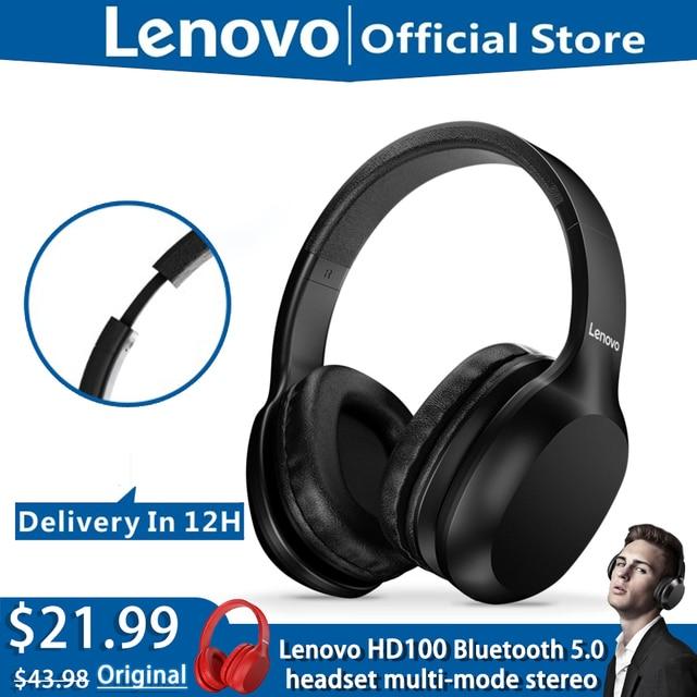 Original Lenovo HD100 Bluetooth 5.0 Headphone Multi mode Stereo Long Battery Wireless Headphone with Mic for PC Laptop Phone