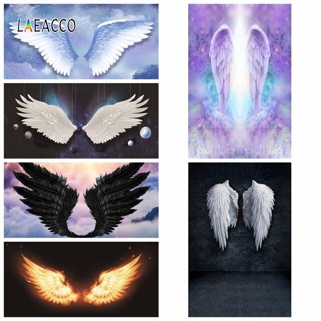 Laeacco ange diable ailes nuages nouveau né photographie décors vinyle Photo arrière plans anniversaire Photophone bébé douche Photocall