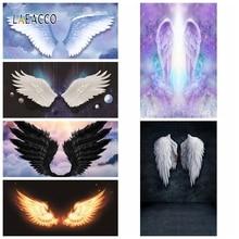 Laeacco天使悪魔の羽雲新生児写真撮影の背景ビニール写真背景誕生日photophoneベビーシャワーphotocall
