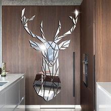 Deer Kopf 3D Spiegel Wand Aufkleber Hause Dekoration Acryl Spiegel Aufkleber Wandbild Abnehmbare Kunst Aufkleber Nordic Wohnzimmer Wand Papier