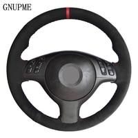 Black Suede Leather DIY Hand stitched Car Steering Wheel Cover for BMW E46 E39 330i 540i 525i 530i 330Ci M3 2001 2002 2003