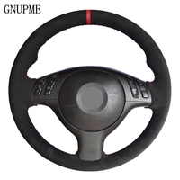 Black Suede Leather DIY Hand stitched Car Steering Wheel Cover for BMW E46 E39 330i 540i 525i 530i 330Ci M3 2001 2002 2003