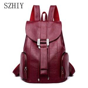 Модный рюкзак для женщин, кожаные рюкзаки высокой емкости, много карманов, дорожные сумки, большой шнурок, школьные сумки, повседневные, Sac ...