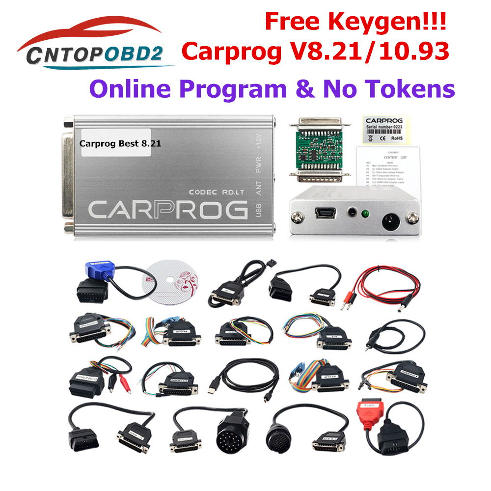 Carprog V10 93 V8 21 Online Version Car Prog with keygen ECU Chip Tunning Repair Tool with All 21 Adapters Diagnostic Tool