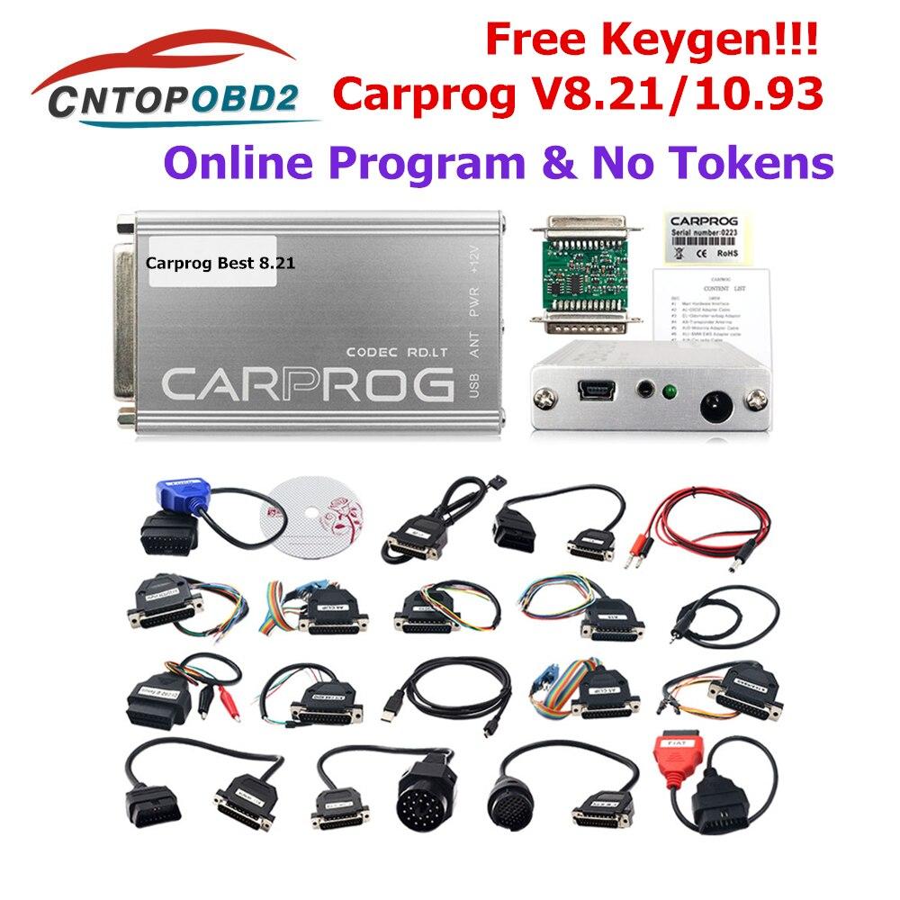 Original carprog v8.21 conjunto completo carro prog 8.21 ferramenta de reparo automóvel com keygen programador em linha v10.93 para rádio/traço/immo/ecu