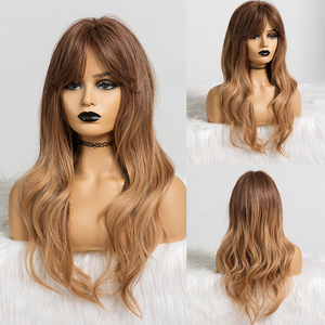Image 4 - EASIHAIR Long Ombre Brown to Blonde Wigs with Bangs Synthetic Wigs For Women Natural Hair Wavy Cosplay Wigs Heat Resistant