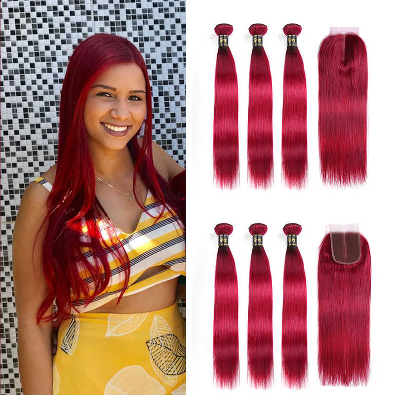 "Straight Human Hair 3 Bundles With Closure 4x4 Lace #Burgundy Red 8""-26"" M Brazilian Hair Weave Bundles Non-Remy IJOY"