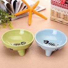 Home Cute Ceramic Cat Bowl Black Fine Bone Pattern Design Cat Food Basin Round Single