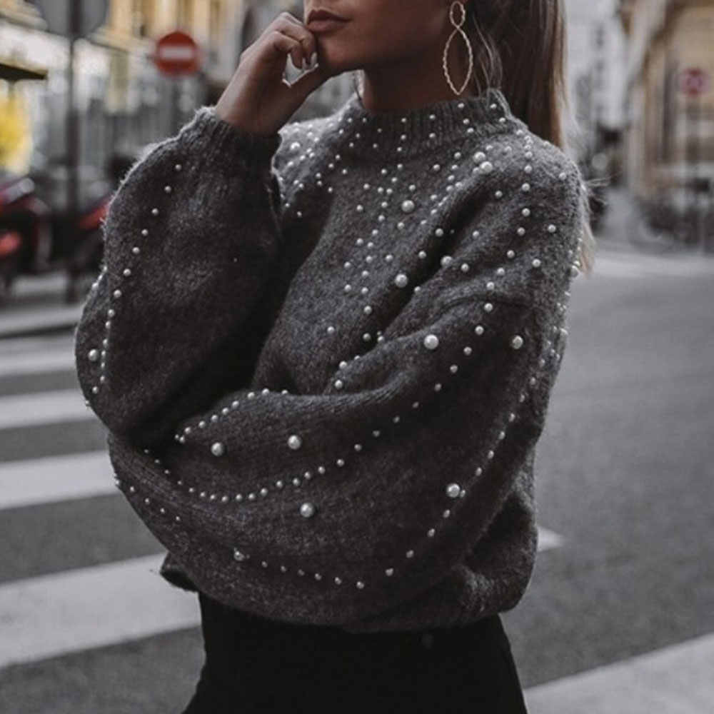 WENYUJH Autumn Winter 2020 Women Sweaters And Pullovers Bead Lantern Sleeve Knitted Sweater Pullover Female Sexy Slim Jumpers