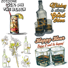 ZOTOONE Printed Drink Beer Heat Transfers Vinyl Ironing Clothes Stickers Iron on Patches for Clothing DIY Cocktail Appliques E