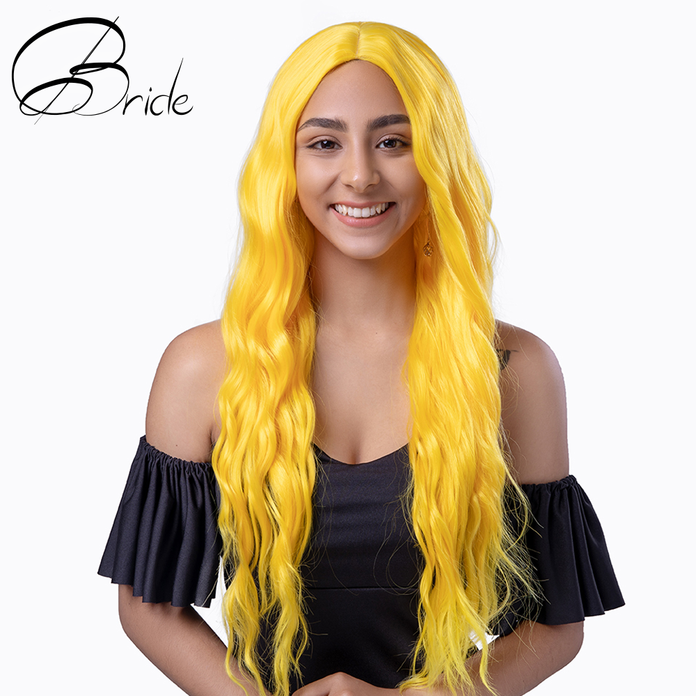 Bride Hair Pure Yellow Color Long Water Wave Hairstyle Wigs For Women Synthetic Hair High Temperature Fiber Average Size