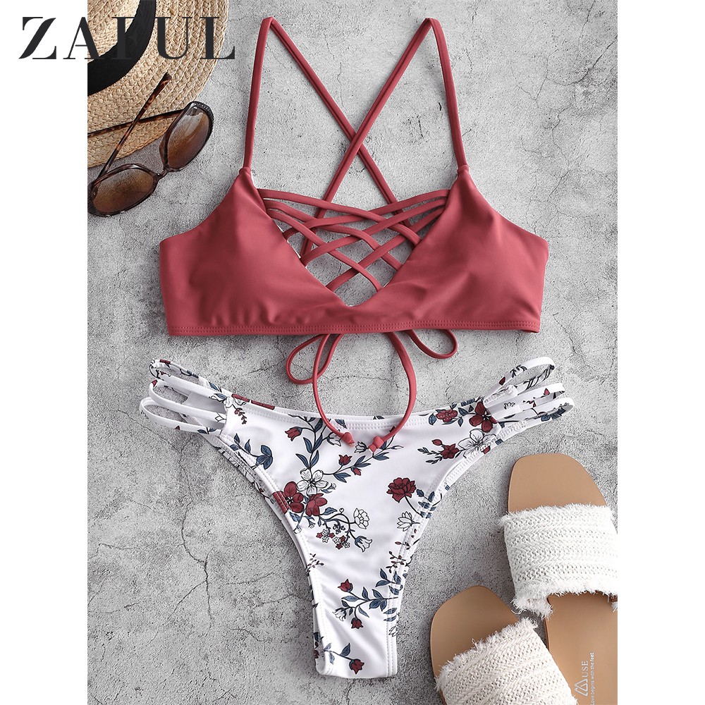 ZAFUL 2020 Floral High Cut Caged Bikini Swimwear Women Criss-Cross Spaghetti Straps Bikini Sets Padded Cami Swimsuits Two Pieces