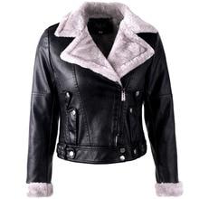 2021Autumn Winter Faux Fur Coat Women PU Leather Jacket Warm Thick Outerwear Ladies Wool Fur Collar Basic Locomotive Short Parka