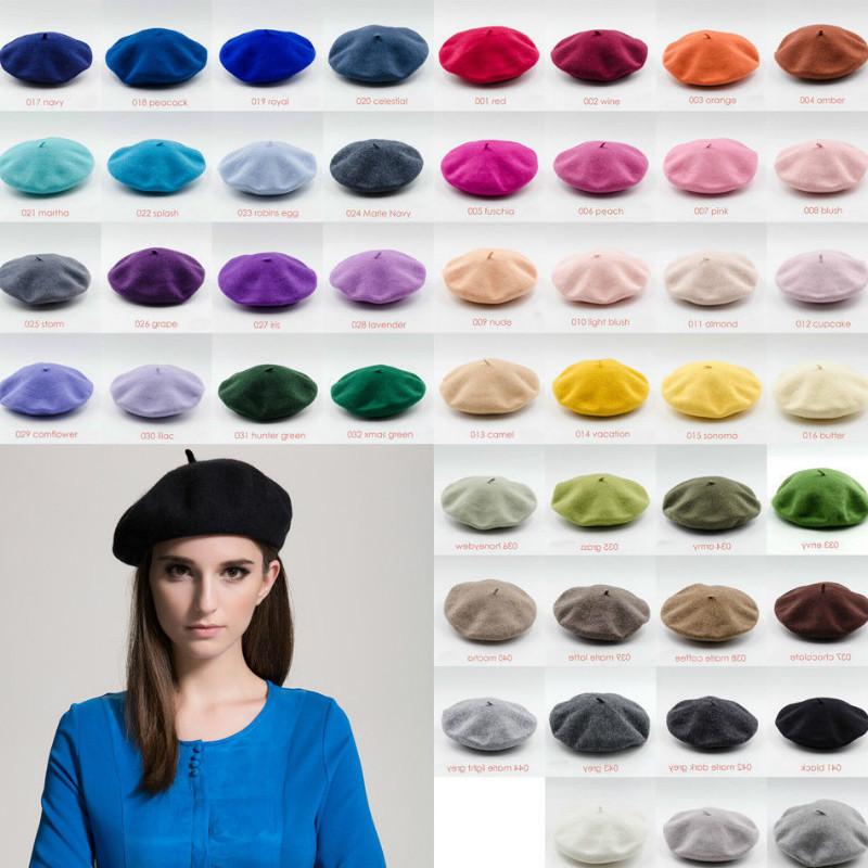 Women Girls Beret French Artist Warm Wool Winter Beanie Hat Retro Vintage Plain Beret Solid Color Elegant Ladies